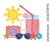 camera photographic with juice...   Shutterstock .eps vector #1416373976