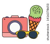 camera photographic with ice...   Shutterstock .eps vector #1416378653