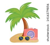 camera photographic with summer ...   Shutterstock .eps vector #1416379856