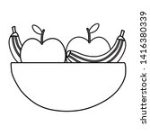 dish with bananas and apples | Shutterstock .eps vector #1416380339