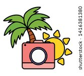 camera photographic with sun...   Shutterstock .eps vector #1416381380