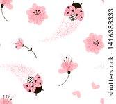 Ladybugs And Flowers Seamless...