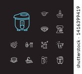 utensil icons set. bowl and...