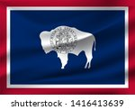 waving flag of wyoming is a... | Shutterstock .eps vector #1416413639