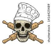 skull in toque with crossed... | Shutterstock .eps vector #1416425489