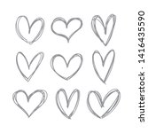 hand drawn heart icons set ... | Shutterstock .eps vector #1416435590