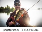 happy angler with perch fishing ... | Shutterstock . vector #1416443003