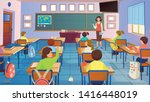 Cartoon Classroom Interior Wit...