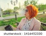 woman smoking. adult female... | Shutterstock . vector #1416452330