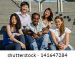 multiethnic group of five... | Shutterstock . vector #141647284