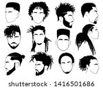 set of afro hairstyles for men. ... | Shutterstock .eps vector #1416501686