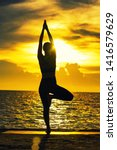 abstrac.silhouette yoga... | Shutterstock . vector #1416579629