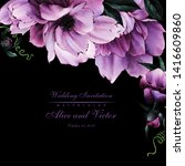 greeting card with flowers ... | Shutterstock . vector #1416609860