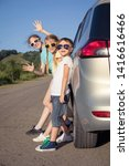 happy brother and his two... | Shutterstock . vector #1416616466