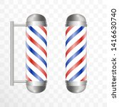 realistic barber pole. two... | Shutterstock .eps vector #1416630740