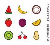 bright modern line art fruits ... | Shutterstock .eps vector #1416654470