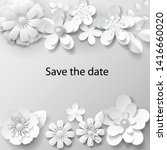 paper art flowers background...   Shutterstock .eps vector #1416660020