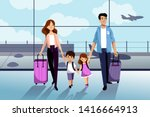 happy family with two kids... | Shutterstock .eps vector #1416664913