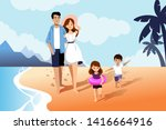 happy family with two kids...   Shutterstock .eps vector #1416664916