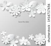 paper art flowers background.... | Shutterstock .eps vector #1416717656