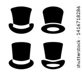 top hat vector icon set on... | Shutterstock .eps vector #1416718286