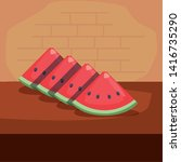 sliced watermelon nutrition... | Shutterstock .eps vector #1416735290