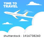 airplane flies in the sky and...   Shutterstock .eps vector #1416738260