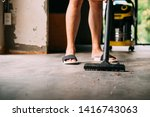 human legs wearing sandals with ... | Shutterstock . vector #1416743063