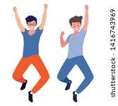 happy young men celebrating... | Shutterstock .eps vector #1416743969