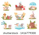 set of images of cute humanized ... | Shutterstock .eps vector #1416779300