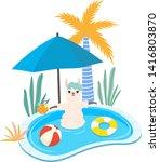 summer illustration of cute...   Shutterstock .eps vector #1416803870