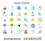 rain icon set. 30 flat rain...