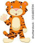 cute baby tiger cartoon waving | Shutterstock . vector #141683554