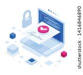 isometric digital signature... | Shutterstock .eps vector #1416846890
