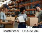 smiling warehouse workers... | Shutterstock . vector #1416851903