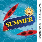 illustration of the summer sea... | Shutterstock .eps vector #1416863996