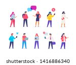 group people use gadgets. set... | Shutterstock .eps vector #1416886340