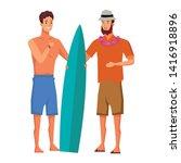 young men friends enjoying... | Shutterstock .eps vector #1416918896