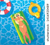woman tanning in float on the... | Shutterstock .eps vector #1416920489