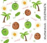 cute kawaii coconut fruit and...   Shutterstock .eps vector #1416946676