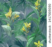 tropical palm leaves and... | Shutterstock .eps vector #1417005050