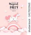 unicorn birthday invitation...   Shutterstock .eps vector #1417022963