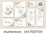 Stock vector floral wedding invitation card save the date thank you rsvp table label tage template vector 1417025720