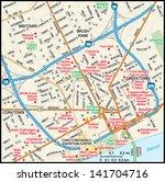 detroit  michigan downtown map   Shutterstock .eps vector #141704716