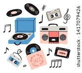 Music Items Doodle Set. Hand...