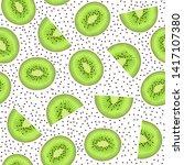 seamless pattern fruit kiwi and ...   Shutterstock .eps vector #1417107380