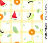 fruit seamless with square... | Shutterstock .eps vector #1417115843