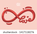 3d love word in infinity sign.... | Shutterstock .eps vector #1417118276