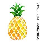 hand drawn watercolor pineapple ... | Shutterstock . vector #1417118930