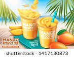 mango smoothie ads with fresh... | Shutterstock .eps vector #1417130873